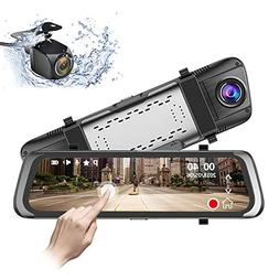 Mirror Dash Cam 10 inch 1080P Full Touch Screen Stream Media