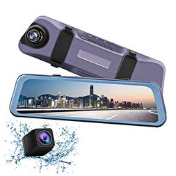 "Mirror Dash Camera 9.66"" Full Touch Screen Streaming Media B"