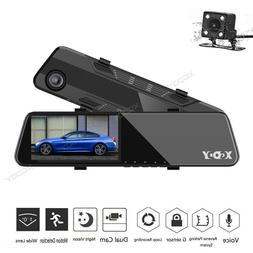 New Dual Lens HD 1080P 7'' For Car Rearview Mirror Dash Cam