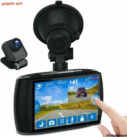 """NEW Z-EDGE Front and Rear FHD Dash Cam w/4.0"""" Touch Screen,"""
