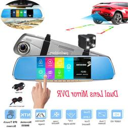 """Reversing Mirror 7.0"""" Front & Rear Dash Camera Touch Screen"""