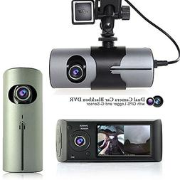 "Indigi NEW! 2.7"" TFT LCD DashCam Dual Camera GPS Logger Car"