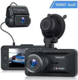 TOGUARD Both 1080P Dual Dash Cam Front and Rear Dual Lens in