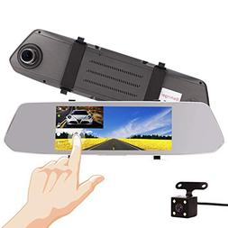 "7 Inch Touch Screen Car Camera 7"" Rearview Mirror Dash DVR C"