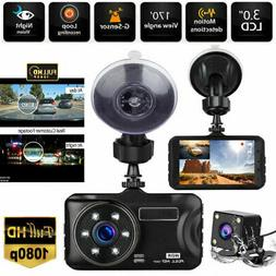 "4"" 1080P Dual Lens Car Dashboard DVR Video Recorder Dash Cam"