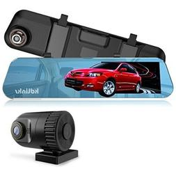 Wide Angle Anti-Glare Rearview Mirror Dual Lens Dash Cam ,Ni
