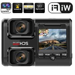 Wifi FHD Dash Cam Night Vision Dual 1080P Front and Inside D