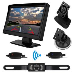 Wireless Car 5'' Auto Monitor Suction Cup/Dash + Backup IR C